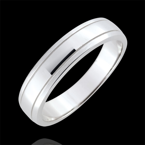 Alliance homme Horizon - or blanc 9 carats brossé