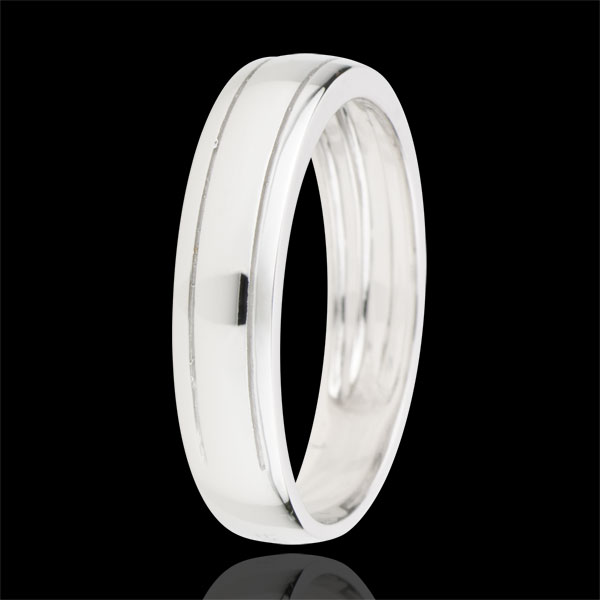 Alliance homme Horizon or blanc 9 carats