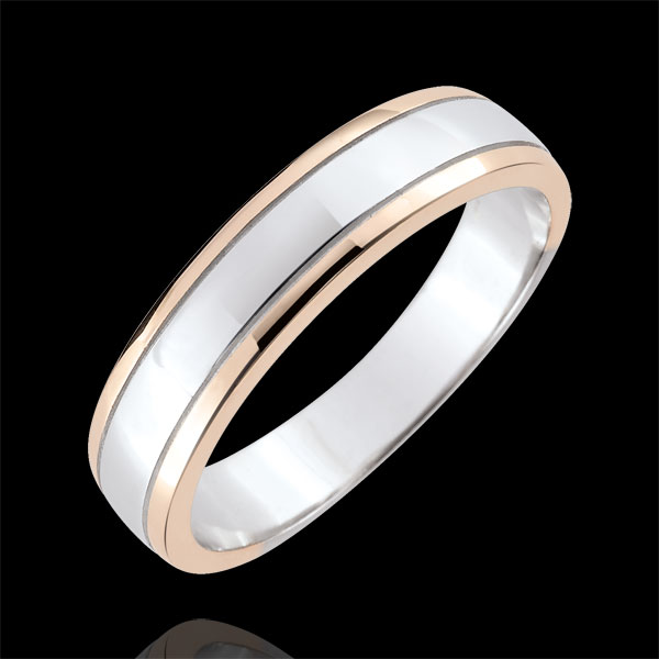 Alliance homme Horizon - or blanc et or rose 18 carats