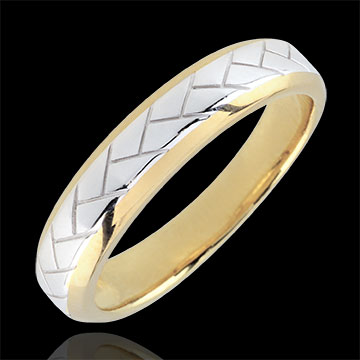 Alliance Tissage or blanc et or jaune 9 carats