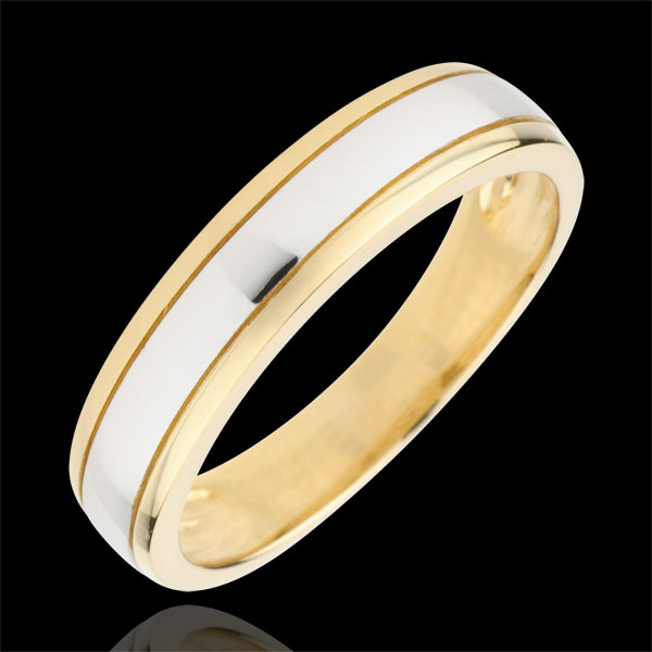 Alliance Horizon bicolore - or blanc et or jaune 9 carats