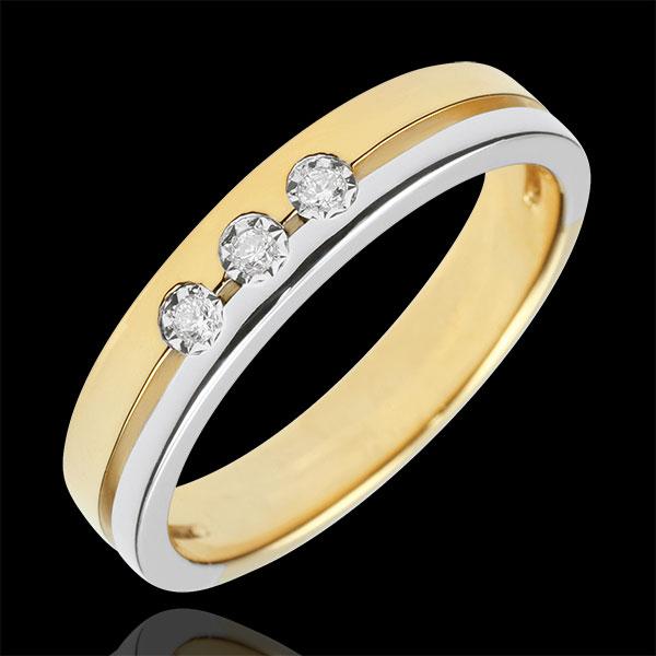 Alliance Olympia Trilogie - Petit modèle - bicolore - or blanc et or jaune 18 carats