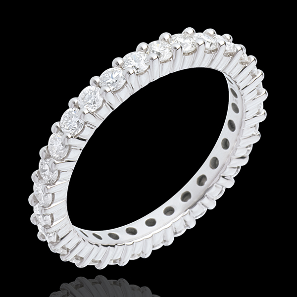 Alliance or blanc 18 carats pavée - serti griffes tour complet - 1.2 carats - 30 diamants