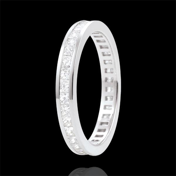 Alliance or blanc 18 carats pavée - serti rail - 1.02 carats - diamants princesses - Tour complet