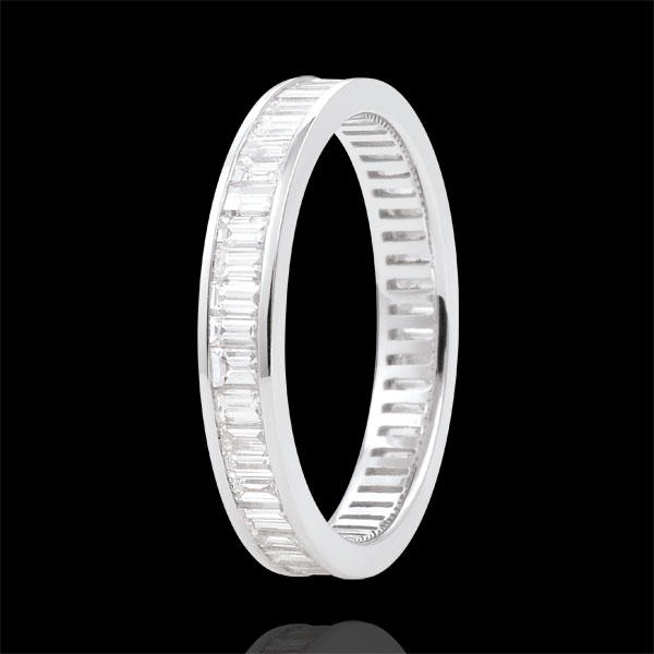 Alliance or blanc 18 carats pavée - serti rail - 1.22 carats - diamants baguettes - Tour complet