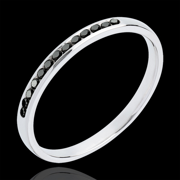 Alliance or blanc 18 carats semi pavée diamants noirs