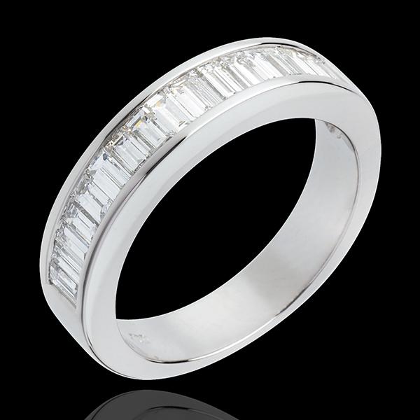 Alliance or blanc 18 carats semi pavée - Diamants taille baguette sertis rail - 1 carat