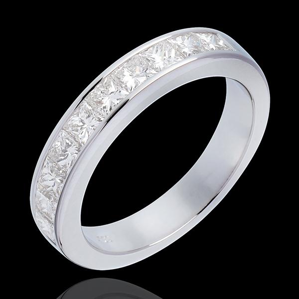 Alliance or blanc 18 carats semi pavée - Diamants taille princesse sertis rail - 1 carat
