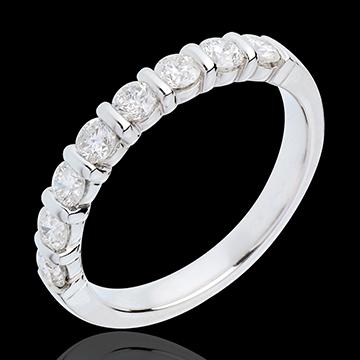 Alliance or blanc 18 carats semi pavée - serti barrettes - 0.65 carats - 8 diamants