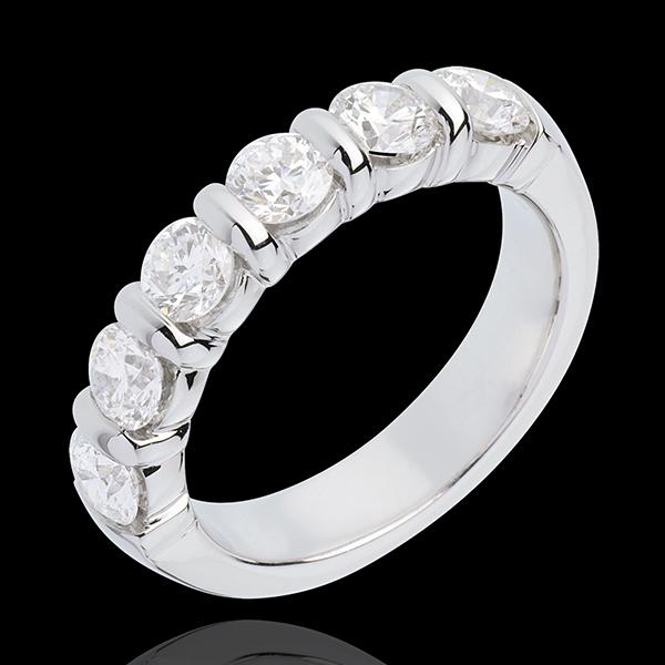 Alliance or blanc 18 carats semi pavée - serti barrettes - 1.5 carats - 6 diamants