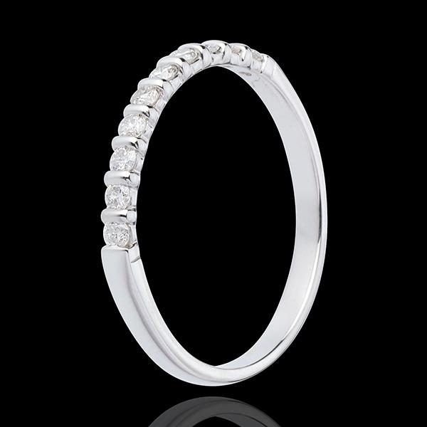 Alliance or blanc 18 carats semi pavée - serti barrettes - 10 diamants