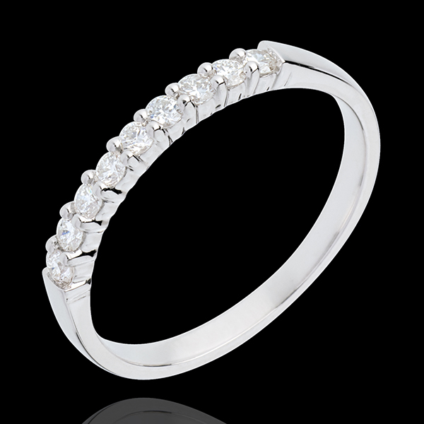 Alliance or blanc 18 carats semi pavée - serti griffes - 0.25 carats - 9 diamants