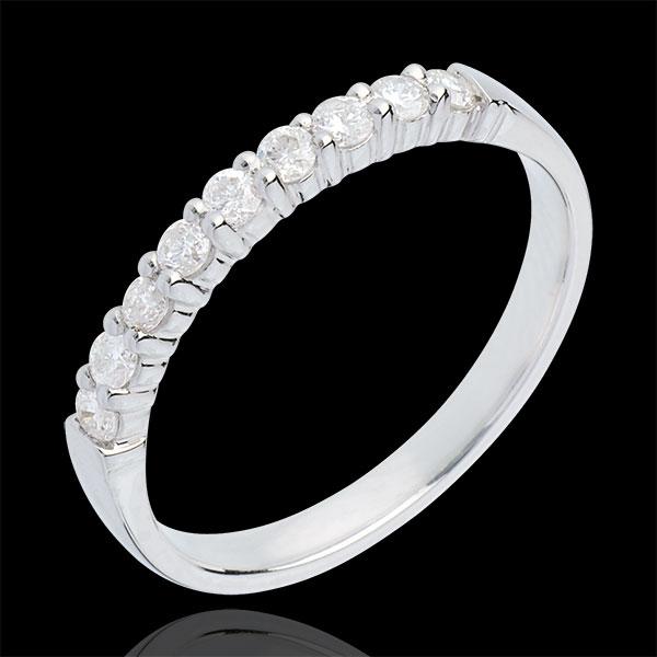 Alliance or blanc 18 carats semi pavée - serti griffes - 0.3 carats - 9 diamants