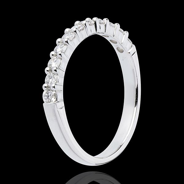Alliance or blanc 18 carats semi pavée - serti griffes - 0.4 carats - 11 diamants