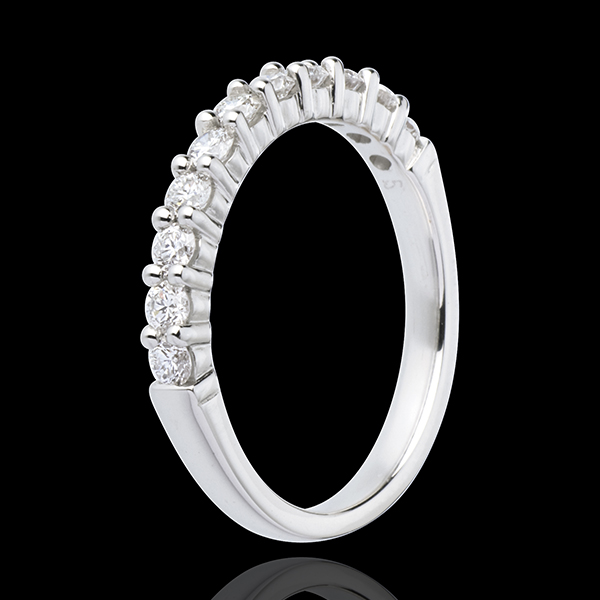 Alliance or blanc 18 carats semi pavée - serti griffes - 0.5 carats - 11 diamants