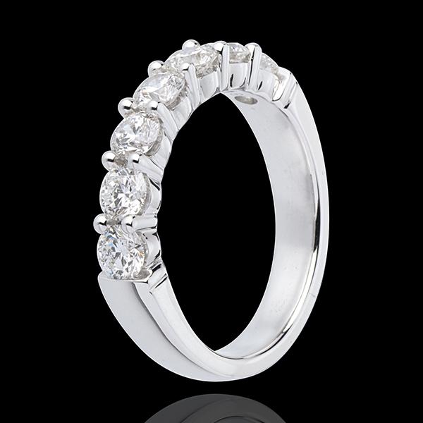 Alliance or blanc 18 carats semi pavée - serti griffes - 1.2 carats - 7 diamants