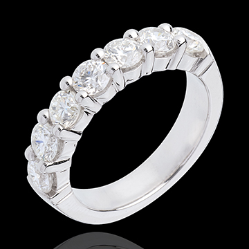 Alliance or blanc 18 carats semi pavée - serti griffes - 1.5 carats - 7 diamants