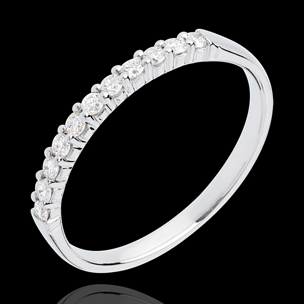 Alliance or blanc 18 carats semi pavée - serti griffes - 11 diamants