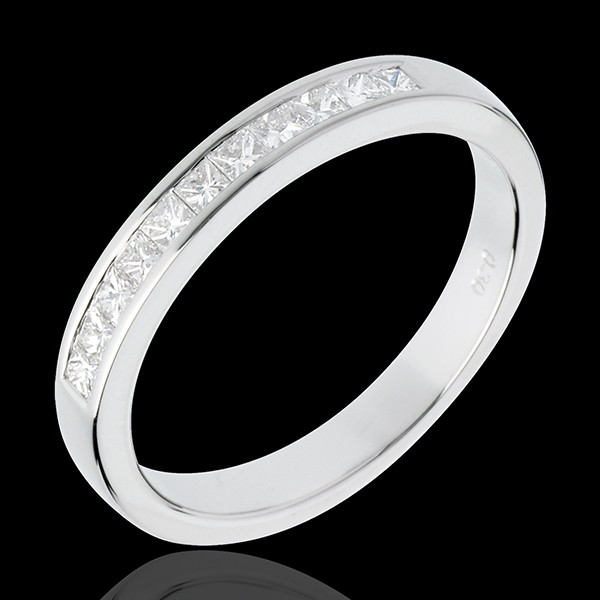Alliance or blanc 18 carats semi pavée - serti rail - 0.31 carats - 11 diamants
