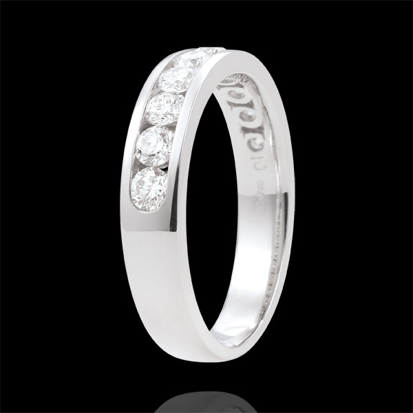 Alliance or blanc 18 carats semi pavée - serti rail - 0.67 carats - 10 diamants