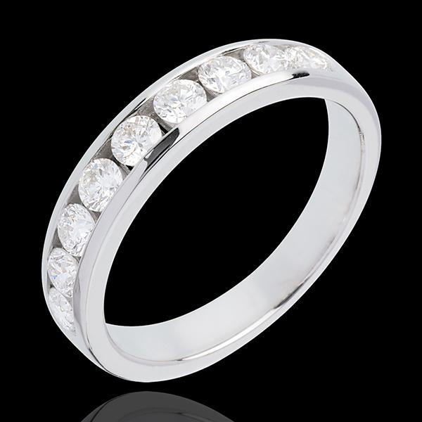 Alliance or blanc 18 carats semi pavée - serti rail - 0.75 carats - 9 diamants