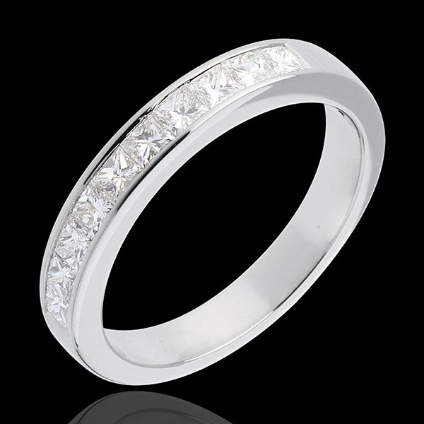 Alliance or blanc 18 carats semi pavée - serti rail - 0.8 carats - 10 diamants