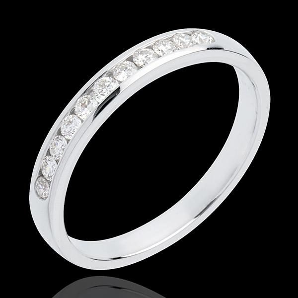 Alliance or blanc 18 carats semi pavée - serti rail - 11 diamants : 0.2 carats