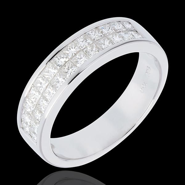 Alliance or blanc 18 carats semi pavée - serti rail 2 rangs - 1 carats