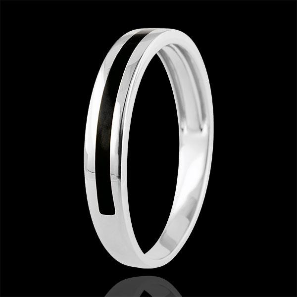 Alliance or Homme Clair Obscur - Une ligne - or blanc 9 carats et laque noire