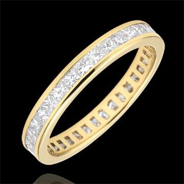 Alliance or jaune 18 carats pavée - serti rail - 1.02 carats - diamants princesses - Tour complet