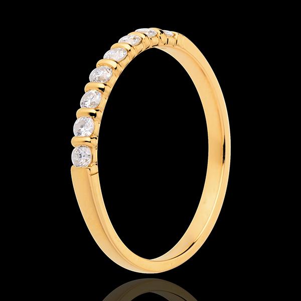 Alliance or jaune 18 carats semi pavée - serti barrettes - 0.25 carats - 8 diamants