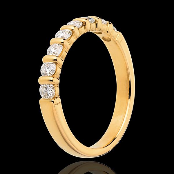 Alliance or jaune 18 carats semi pavée - serti barrettes - 0.5 carats - 8 diamants
