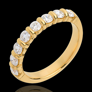Alliance or jaune 18 carats semi pavée - serti barrettes - 0.75 carats - 8 diamants