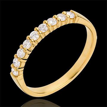 Alliance or jaune 18 carats semi pavée - serti griffes - 0.3 carats - 9 diamants