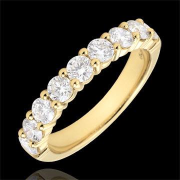 Alliance or jaune 18 carats semi pavée - serti griffes - 1 carats - 9 diamants