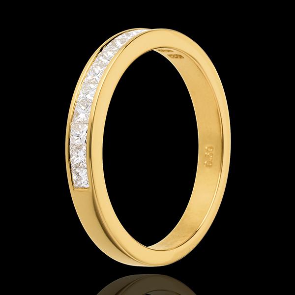 Alliance or jaune 18 carats semi pavée - serti rail - 0.5 carats - 13 diamants