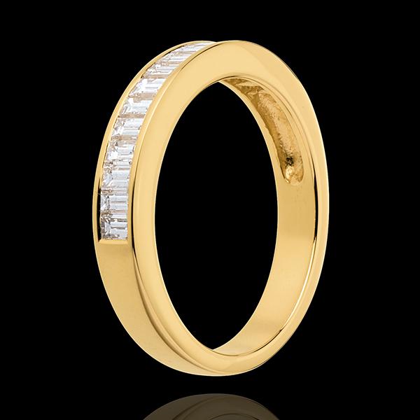 Alliance or jaune 18 carats semi pavée - serti rail - 0.5 carats