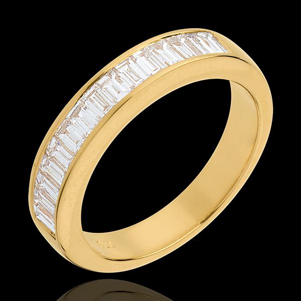 Alliance or jaune 18 carats semi pavée - serti rail - 0.75 carats