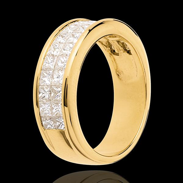 Alliance or jaune 18 carats semi pavée - serti rail 2 rangs - 1.5 carats