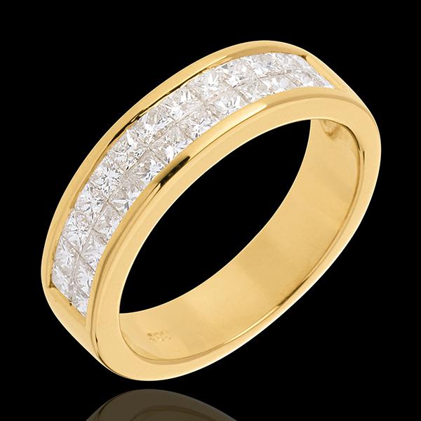 Alliance or jaune 18 carats semi pavée - serti rail 2 rangs - 1 carats