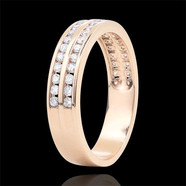 Alliance or rose 9 carats semi pavée - serti rail 2 rangs - 0.38 carats - 32 diamants