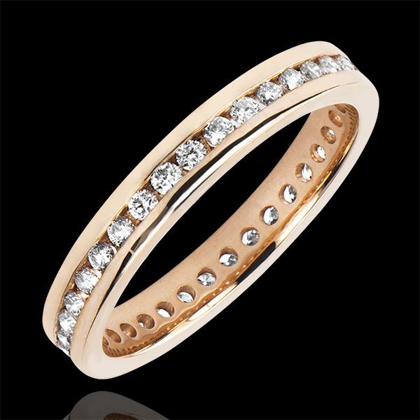 Alliance Origine - Lit de diamants - Tour Complet - or rose 9 carats et diamants