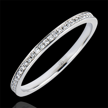 Alliance Origine - Serti grain - or blanc 9 carats et diamants