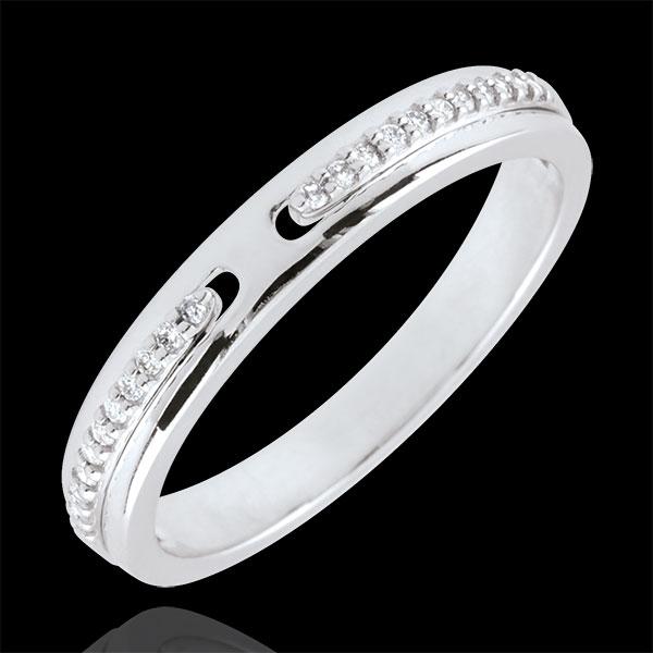 Alliance Promesse - or blanc 9 carats et diamants - petit modèle