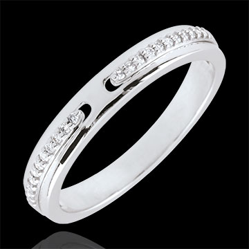 Alliance Promesse - or blanc 9 carats et diamants - petit modèle