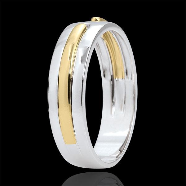 Alliance Promesse - tout or - très grand modèle - or blanc et or jaune 9 carats