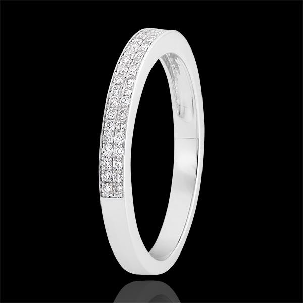 Alliance Rivière double - Or blanc 9 carats et diamants