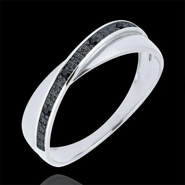 Alliance Saturne Duo - diamants noirs - or blanc 9 carats
