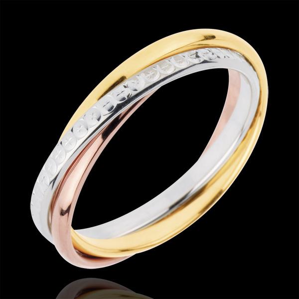 Alliance Saturne Mouvement variation - petit modèle - 3 Ors, 3 anneaux - trois ors 18 carats