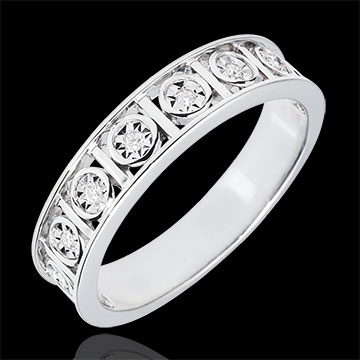 Alliance Secret d'Amour - 9 Diamants - or blanc 9 carats